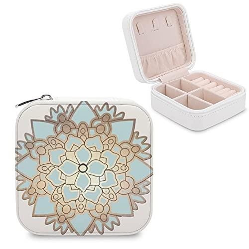 Organizador de joyas de viaje para niñas, mujeres, elegante, azul y dorado, caja de almacenamiento portátil de joyería para anillos, pendientes, collares