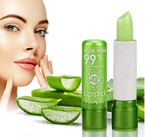2 Pack Aloe Vera Lipsticks, Color Changing Long Lasting Moisturizing Lip Balm,Nutritious Moisturizer Natural Green Lip Gloss for Dry Lips