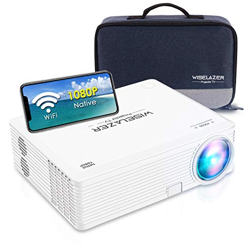 WISELAZER Mini Projector, Bring Cinema Back Home, Choose Native 1080p WiFi Movie Projector with Clear Super Large Image, HD Home Theater Projector Compatible with Smartphone,TV stick, PS4,HDMI,USB