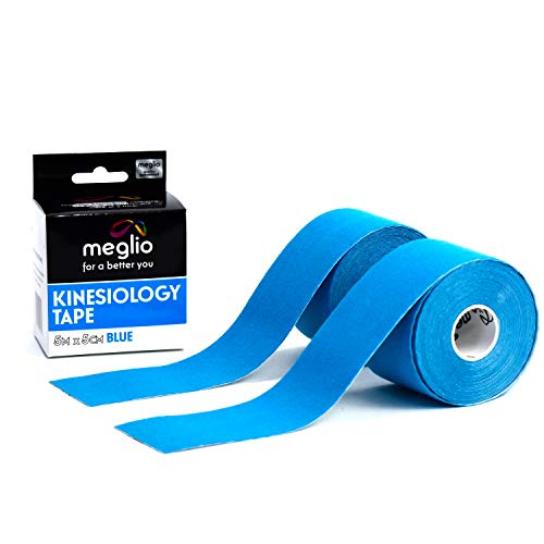Meglio Kinesiology Tape Uncut Muscle Tape 16 Feet Uncut Roll - Pain Relief Adhesive for Sore Muscles, Knee, Back, Shoulder & Shin Splints - Water Resistance & Latex Free (2 Pack Blue Tape)