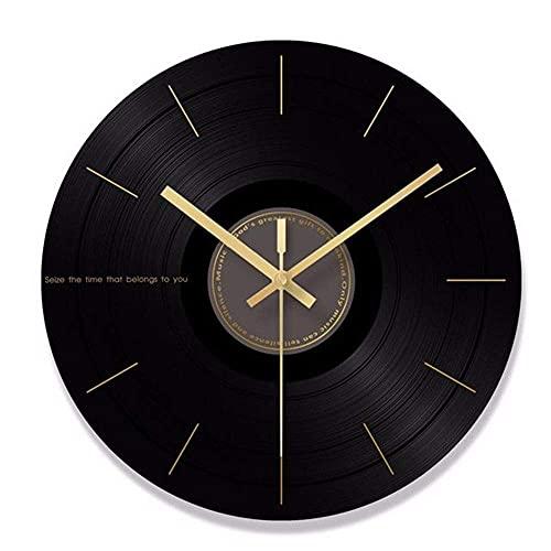 WSDDNXM Reloj de Pared Imitación de Discos de Vinilo Reloj de Pared de Vidrio Templado Personalidad Creativa Reloj de Pared Decorativo Reloj Reloj Mute Diámetro 29,5 CM