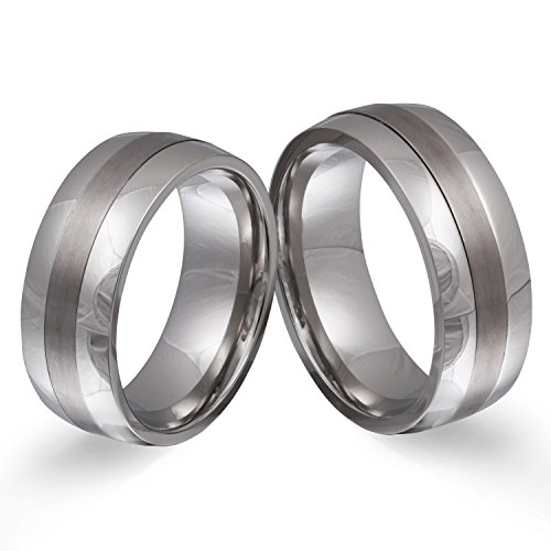 Juwelier Schönschmied - Zwei Partnerringe Eheringe Hochzeitsringe Titanringe titan_steel inkl. persönliche Lasergravur multisizer LANrX2HH - Soulmate