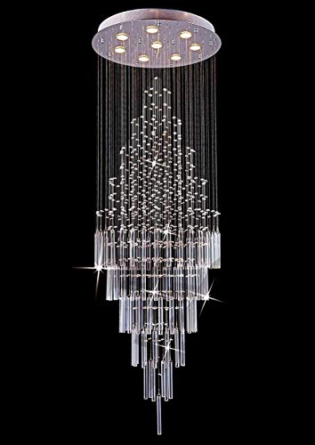 Saint Mossi 8-Lights Crystal Chandelier in Modern Chandelier Style,K9 Crystal Pendant Light Fixture,Raindrop Chandelier Flush Mount Ceiling Light Fixture,Large Size,H69' x D23'