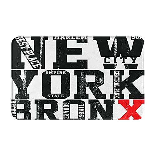 CONICIXI Felpudo de Entrada Interior Alfombra Newyork City Tipografía Lema Camiseta Gráficos Vectores Antideslizante Tapete para Puerta Lavable a Máquina para Cocina baño balcón