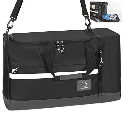 CLASSEAK LUX V1 2019 Sporttasche mit Schuhfach 42 Liter Trainingstasche Reisetasche Sneakerfach Schwarz für Damen & Herren