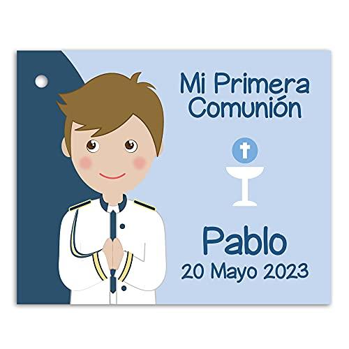 Etiquetas Primera Comunión niño con traje de almirante con detalles en color azul. Pack 25 udes.