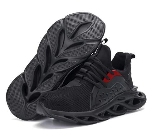 ZYLL Zapatos indestructibles Calzado Hombre de Trabajo de Seguridad con Puntera de Acero del Casquillo a Prueba de pinchazos Botas tamaño Fresco Zapatillas de Deporte,A,43 ⭐