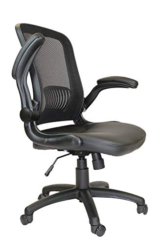 Office Factor Mid-Back Mesh Back Pu Seat, Swivel Ergonomic Task Desk Chair with Flip-Up Arms & Lumbar Support, Black (Black Chair)