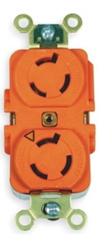 Locking Devices, Twist-Lock, Isolated Ground Industrial, Duplex Receptacle, 15A 250V, 2-Pole 3-Wire Grounding, L6-15R, Screw Terminal, Orange