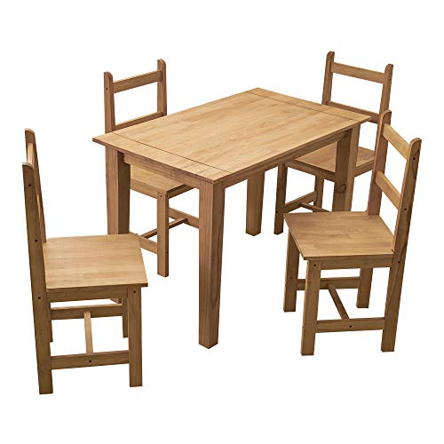 Solid Pine Wood Dining Table Set with 4 High Back Chair Mexican Style for Kitchen Dining Room W 108 x D 65 x H 75cm