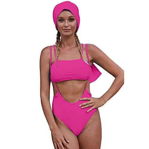 AMRT Damen-Bademode, offshore, hohe Taille, geteilter Badeanzug für den Sommer, neuer Sling freiliegender Bauch, dreiteiliger Anzug ideal für Frauen jeden Alters (Farbe: Rosa, Größe: S)