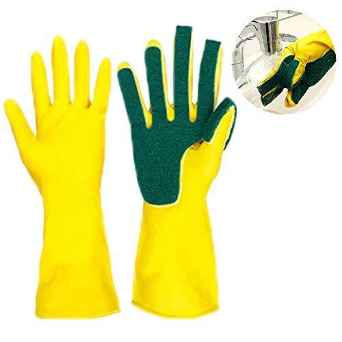 Guantes de silicona para lavar la cocina con esponja de fregado, guantes reutilizables de protección impermeables y resistentes al calor para la lavado de platos, lavado del automóvil, amarillo