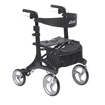 Drive Medical RTL10266CF Nitro Elite CF Foldable Rollator Walker with Seat Black