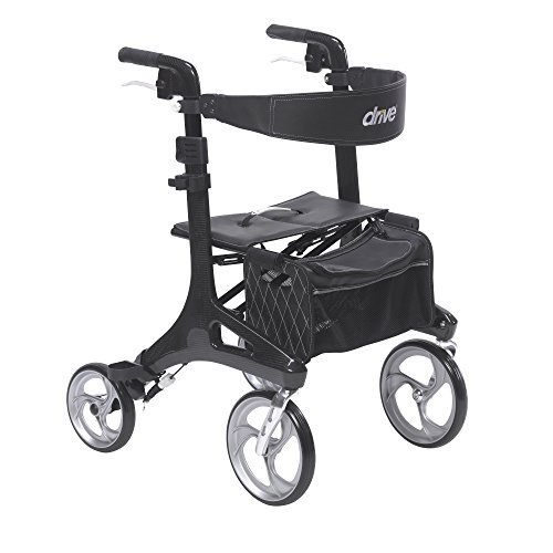 Drive Medical Nitro Elite CF Carbon Fiber Walker Rollator, Black, 23