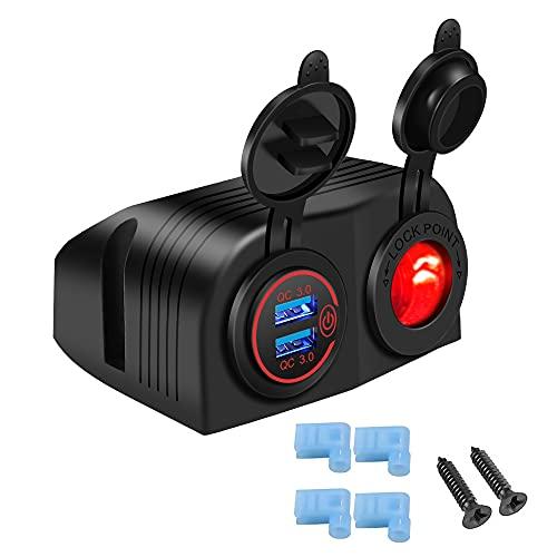 YGL - Cargador de moto impermeable de 36 W con doble puerto USB QC3.0 + 12 V/24 V para encendedor de cigarrillos con 2 agujeros, con LED y interruptor, para coches, barcos, caravanas y autocaravanas