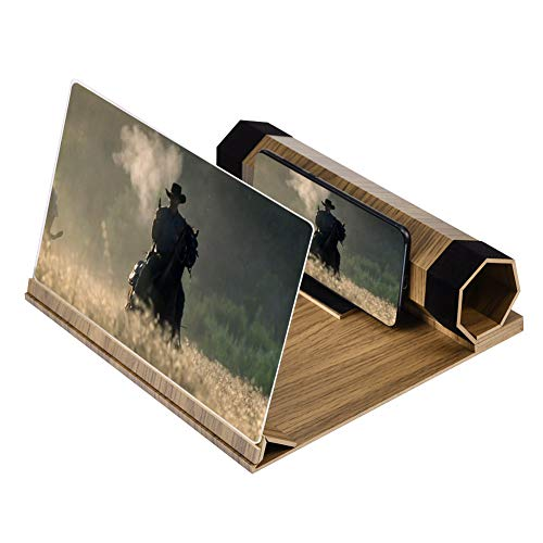 Bildschirmverstärker für Mobiltelefon, 12 Zoll, Erweiterung des Smartphones mit Halterung für Mobiltelefon, 3D, Lupe, zusammenklappbar, aus Holz, für Smartphones