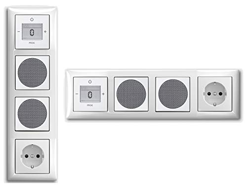Busch Jäger Unterputz UP Bluetooth Radio 8217 U (8217U) Komplett-Set Balance SI alpinweiß + 2 x Lautsprecher + 20EUC-914 Steckdose + Radioeinheit in 4 fach Rahmen integriert - Anordnung frei wählbar
