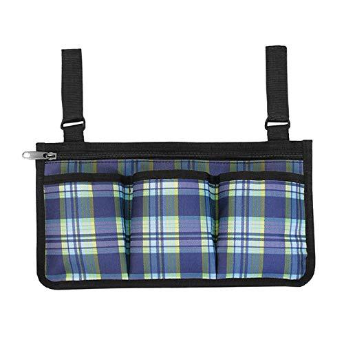 Nobranded Walker Tasche-Wasser Beständig Bietet Hände Freies Lagerung für Klapp Wanderer-Tote Caddy Tasche für Ältere, senioren, Handicap, Behinderte - Blau Plaid