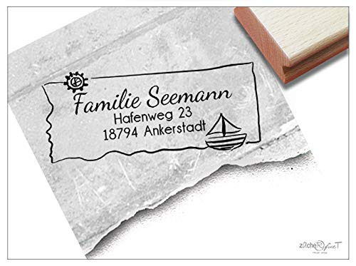 ZAcheR-fineT Stempel, persoonlijke adresstempel, zeilboot - familiestempel, gepersonaliseerd naam, adres, cadeau voor kinderen, school