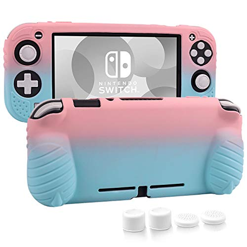 Cybcamo Protective Case for Nintendo Switch Lite 2019,Silicone Grip Case with Anti-Scratch and Shock-Absorption[Self Stand][4 Thumb Stick Caps]