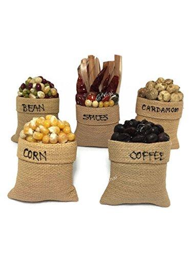 5pc en miniatura Frutas Alimentos Vegetales imán Souvenir Colección 3d imán de nevera frigorífico hecho a mano muebles Decor (Bean, café, maíz, cardamomo, especias)