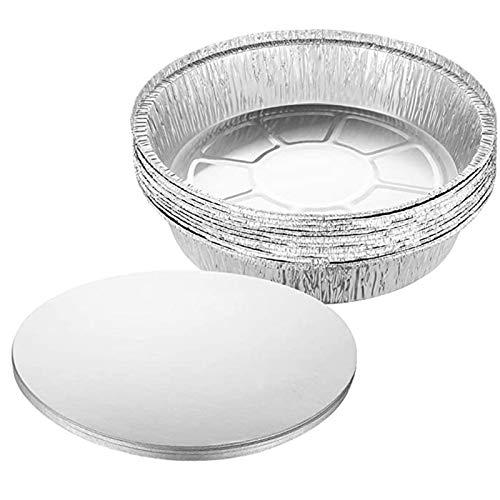 Jixista Aluminio Desechable Bandejas Redondas de Aluminio para Hornear con Tapa Bandejas de Lata Desechables de 8 Pulgadas Molde para Pizza de Papel de Estaño 1100 ml Almacenar Y Recalentar 25PCS