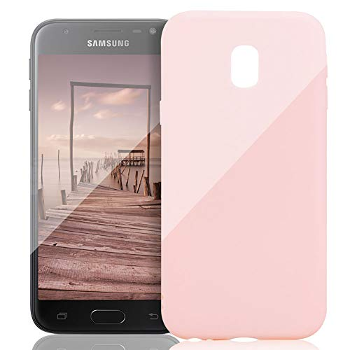 FNBK Kompatibel mit Samsung Galaxy J5 2017/J530 Hülle Süßigkeitfarbe Weiches TPU Schutzhülle Ultradünn Stoßfest Kratzfest Case Einfarbig Hellrosa