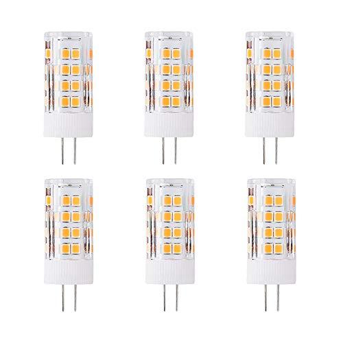 G4 5W LED Leuchtmittel, Ersatz 50 Watt, 51 LEDs, 500 Lumen, 360 Grad Abstrahlwinkel, AC/DC 12 V, Nicht Dimmbar, 6 Stück, 3000K Warmweiß
