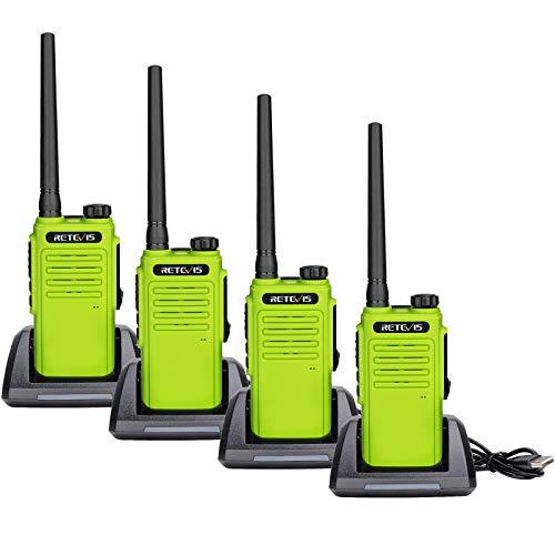 Retevis RT647 Walkie Talkie, IP67 Impermeable, Largo Alcance, Radios Bidireccionales Recargables Portátiles, Radios VOX Manos Libres Bidireccionales para Al Aire Libre Caza Pescar (4 Piezas, Verde)