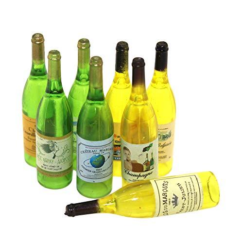 Ruby569y Accesorios para casa de muñecas, 3 piezas en miniatura, jardín de hadas de imitación, botella de vino tinto vacía, juguete para niños, color al azar