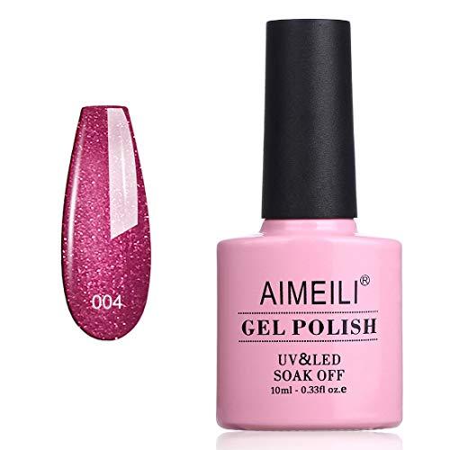 AIMEILI UV LED Gellack ablösbarer Glitzer Gel Nagellack rot Schimmer Gel Nail Polish - Red Baroness (004) 10ml