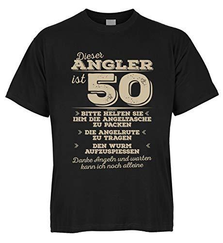 Wels Zander Carpe Shirt Fischer Cet Angler est 50 Veuillez aider à sortir la lance - Avec mini t-shirt comme cadeau. - Noir - XXX-Large