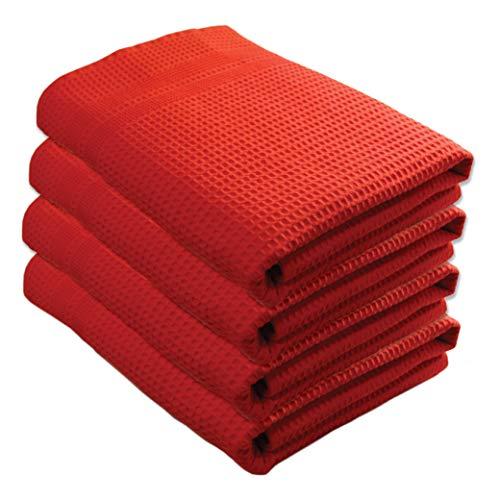 Gilden Tree - Juego de 4 toallas de baño, 100% algodón natural, diseño de waffle