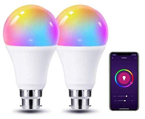 JFFFFWI Bombilla Inteligente WiFi de 9W, Bombilla RGBW de Control Remoto, APLICACIÓN E27 RGB CW + RGB + WiFi, Compatible con Alexa/Echo/Google Home, Función de programación de Control de Voz rem