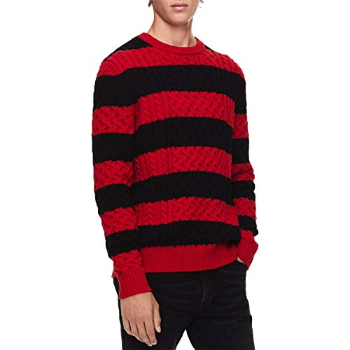 Calvin Klein Mens Wool Blend Striped Pullover Sweater Red XS