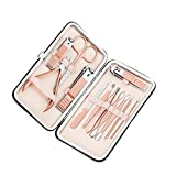 Oyria - Juego de 12 cortauñas para manicura, Kit Profesional de cortauñas para el Cuidado de la pedicura, Herramientas de Aseo de Acero Inoxidable con Funda de Piel sintética para Viajes y hogar