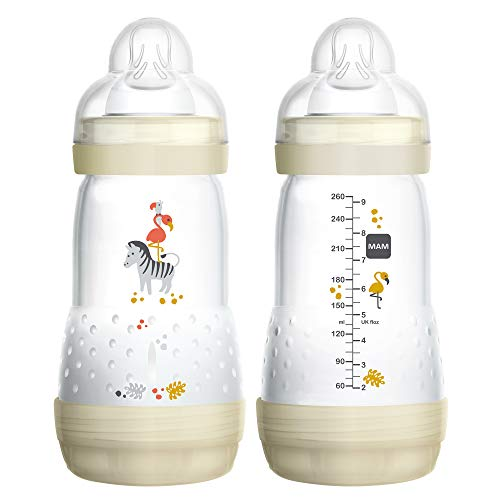 MAM Easy Start Anti-Colic Bottle, 9 oz (2-Count), Baby Essentials, Medium Flow Bottles with Silicone Nipple, Unisex Baby Bottles, White