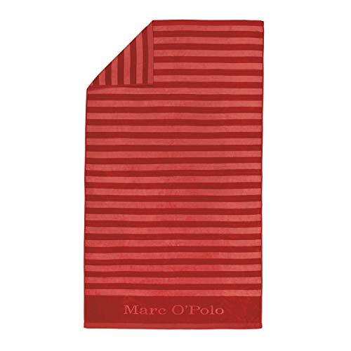 Marc O'Polo Saburo Beach Towel Badetucher, 100 % Baumwolle, Velours, 100 x 180 cm, Rot
