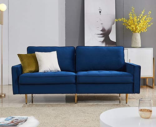 """Rhomtree Mid Century Sofa Velvet Fabric Upholster Couch 71"""" Modern Sectional Futon Bench Loveseat Living Room Sofa with 2 Throw Pillows (Blue)"""