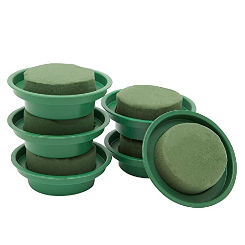 Wet Floral Foam Rounds in Bowls for Fresh and Artificial Flowers Arrangement, Wedding Centerpieces (4.7 x 2 in, 6 Pack)