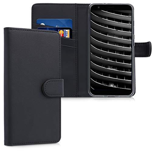 kwmobile Hülle kompatibel mit Asus Zenfone Max Plus (M1) - Kunstleder Wallet Hülle mit Kartenfächern Stand in Schwarz