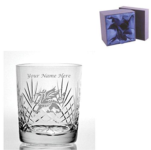 Individuelle Gravur Schnitt Kristall, Whisky Glas mit walisischer Drachen Design–Geschenkbox mit Seide ausgekleidet enthalten