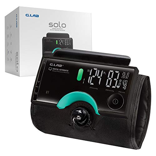Solo Tubeless Blood Pressure Monitor for Home - Wireless 11-17 Inches Upper Arm Blood Pressure Machine w/Large Digital Display, IHB Indicator, w/4 Profiles, 960 Memory and Carrying Case by G.LAB
