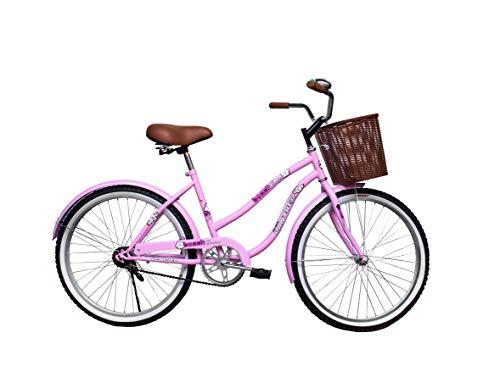 Bicicleta Vintage Cruiser Rodada 26 con Canasta Y Timbre-Rosa Pastel