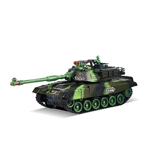 Cargador tanques de control remoto de simulación verde controlado de radio de batalla principal tanque de juguete RC Panzer USB modelo de coche con el sonido de la torreta giratoria y el retroceso Acc