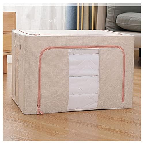 JIANGCJ Económico y práctico organizador de bolsas de almacenamiento de ropa, 100 l, contenedores de almacenamiento plegables para armario, contenedores de almacenamiento (color beige)