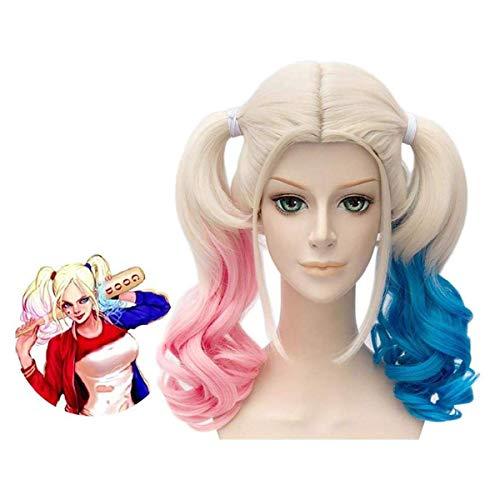 LEMON TREE SL Peluca para Mujer de Harley Quinn Color Rubio con Colores Azul y Rojo para Halloween o Carnaval. Peluca Disfraz Cosplay Harley Quinn Suicide Squad