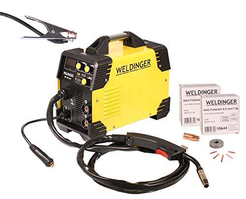 Fülldrahtset WELDINGER ME 180 mini MIG/MAG-Schweißgerät je 1x Fülldraht 0,6/0,9 mm/1kg Fülldrahtgasdüse Stromdüsen (NoGas Schweißen) 5 Jahre Garantie