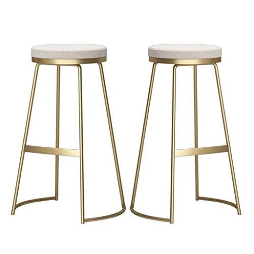 Zfggd taburete de bar, Set de 2 Cocina Sillas de Cena Inicio Pub Contador sillas Altas Recepción con Las piernas de Oro for los cafés Muebles for la Sala Esponja tapizada Taburete de Metal del Oro