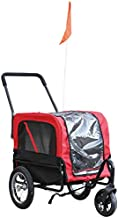 Aosom Elite-Jr 2-in-1 Dog Pet Bicycle Trailer/Jogging Stroller with 360-Degree Swivel Wheels & Large Easy Entry, Red